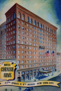 A postcard of The Cornish Arms Hotel in New York-frequently advertised in The Cornishman
