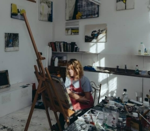 Kerry Harding at work in her studio at Krowji