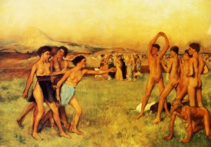 Spartan Girls challenge Boys by Edgar Degas