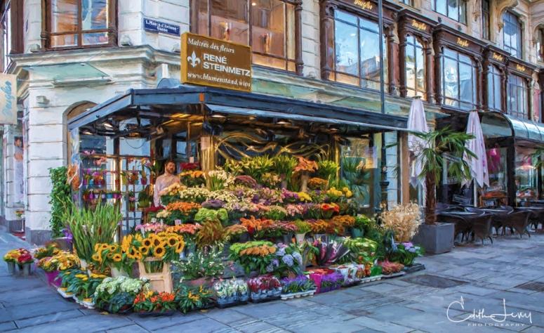 Vienna, Austria, flower market, flowers, street photography, digital painting, travel photography