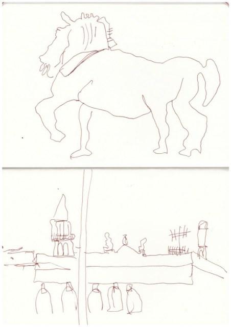 Venedig von der Terasse von San Marko (c) Zeichnung von Susanne Haun