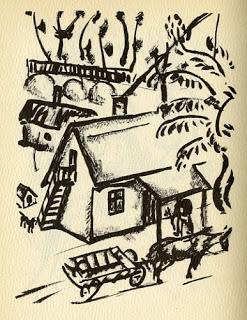 "Wordless Book,""My War"" showing a village during WW1"