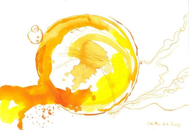 Vom Eiweiß verlassen - Eigelb in Tränen (c) Zeichnung von Susanne Haun