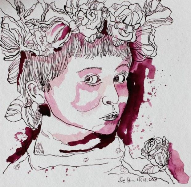 Mädchem mit Blumen im Haar - 25 x 25 cm - Tusche auf Hahnemuehle Burgund - Version 1 (c) Zeichnung von Susanne Haun