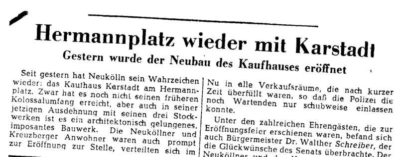 TODAY IN BERLIN: KARSTADT AM HERMANNPLATZRETURNS