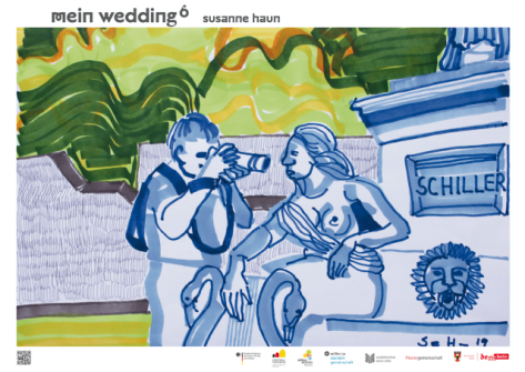 Fotoshooting im Schillerpark, 20 x 30 cm, Marker auf Hahnemühle Layoutpapier, Zeichnung von Susanne Haun, verkleinert (c) VG Bild-Kunst, Bonn 2019