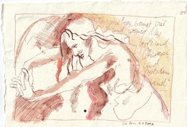 1 - Susanne Haun, Ein Engel in New York und Schwerin, 1.1.2006, 15 x 10 cm, Tusche, Buntstift und Aquarell auf Silberburg Büttenpapier
