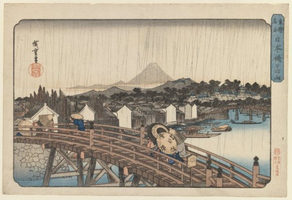 Utagawa Hiroshige (歌川広重) (1797–1858), Evening Shower at Nihonbashi Bridge (Edo, 1830-4), woodblock print, 26.2 × 38.7 cm, Brooklyn Museum, New York, NY. Wikimedia Commons.