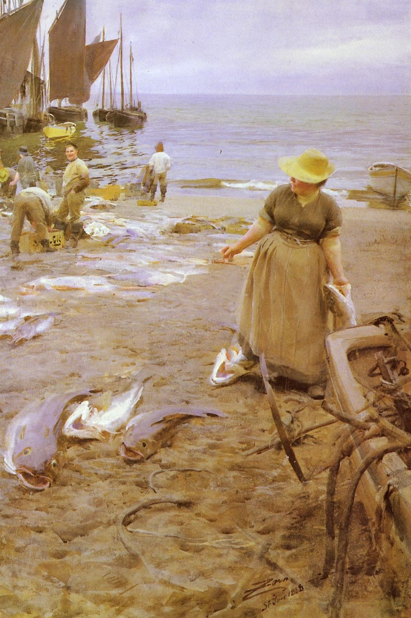 Anders Zorn, Fish Market in Saint Ives (1888), watercolour, 100 x 76.5 cm, Private collection. Wikimedia Commons.