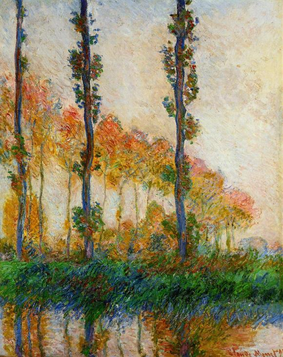 Claude Monet, The Three Trees, Autumn (1891) W1308, oil on canvas, 92 x 73 cm, Private collection. WikiArt.